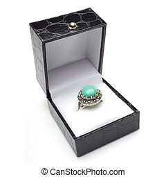 Turquoise Ring in Gift Box - Round turquoise cabachon ring...
