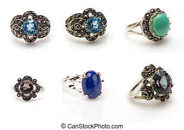 Gemstone Ring Collection - Six gemstone rings isolated on...