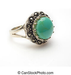 Sterling Silver Turquoise Ring - Sterling silver round...