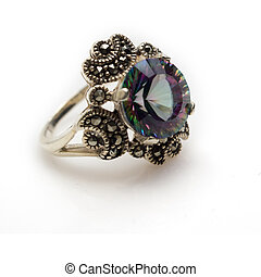 Mystic Topaz Ring - Sterling silver faceted mystic topaz...