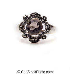 Faceted Smokey Quartz Ring - Sterling silver smokey quartz...
