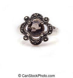 Faceted Smokey Quartz Ring - Sterling silver smokey quartz...
