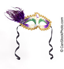 Mardi Gras Mask - Colorful Mardi Gras mask Isolated on white...