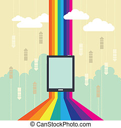 Colorful Wireless Technology - Vector conceptual...
