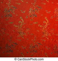 töredék, selyem, piros, kínai
