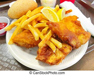 Breaded fish with french fries - Delicious battered /...
