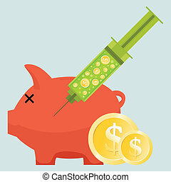 Money Injection - Vector illustration of a helpless piggy...
