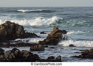 HDR Rocky Coastline Along the 17 Mil Drive - Scenic rocky...