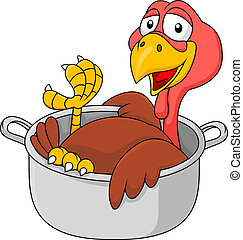 Turkey in the saucepan - Vector illustration of turkey in...