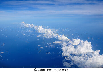 藍色, 天空, 白色, 云霧