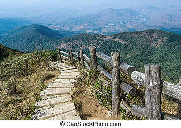 Trails on the mountain. North of Thailand.