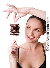 niña, tenencia, chocolate