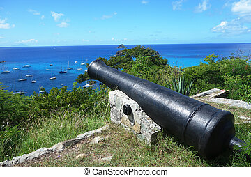 Cannon on top of Gustavia Harbor - Old cannon on top of...