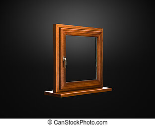 Elegant fiberglass window with oak coverage on dark...