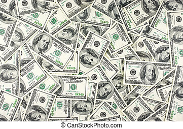 Money background - One hundred dollars pile as background
