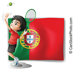 The flag of Portugal at the back of a tennis player