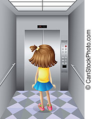 A little girl at the elevator - Illustration of a little...