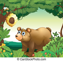 A big brown bear staring at the beehive - Illustration of a...