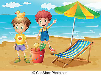 Kids at the beach with an umbrella and a foldable bed -...