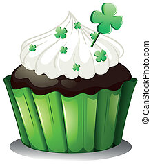 A chocolate cupcake for St. Patrick's Day - Illustration of...