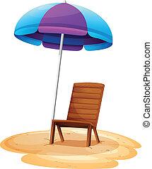 A stripe beach umbrella and a wooden chair