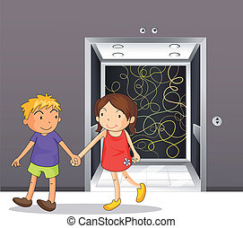 A girl and a boy holding hands near the elevator