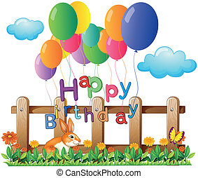 A happy birthday greeting with balloons - Illustration of a...
