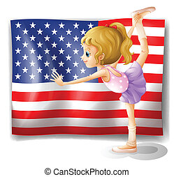 The flag of USA at the back of a dancer - Illustration of...