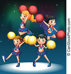 Four energetic cheerers - Illustration of the four energetic...