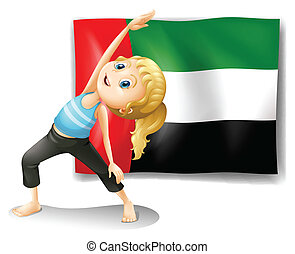 Flag of the UAE with a girl stretching