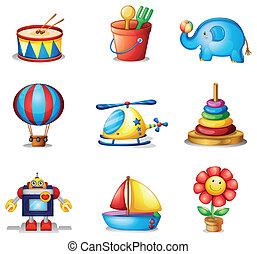 Nine different kinds of toys