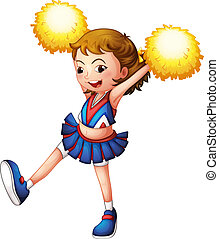 A cheerleader with yellow pompoms