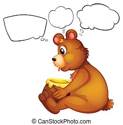 A hungry bear thinking - Illustration of a hungry bear...