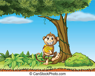 A monkey with bananas near a tree with vine plants -...
