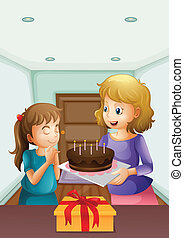 A girl wishing before blowing her birthday cake -...