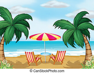 A view of the beach with a beach umbrella and chairs -...