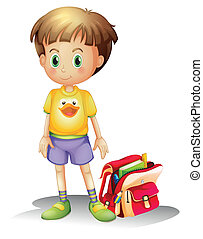 A young boy with his school bag - Illustration of a young...