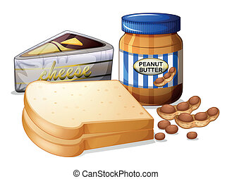 Sliced bread with cheese and butter - Illustration of the...