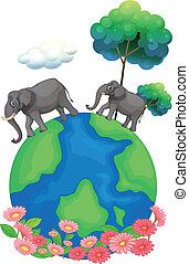 Two elephants walking at the earth's surface - Illustration...