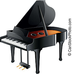 A musician's piano - Illustration of a musician's piano on a...