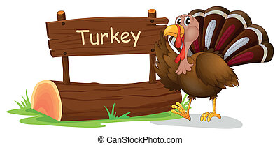 A wooden signage with a turkey