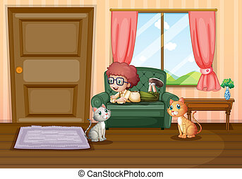 A young boy and his cats inside the house - Illustration of...