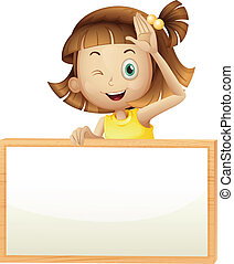 A girl blinking her eye holding an empty board -...