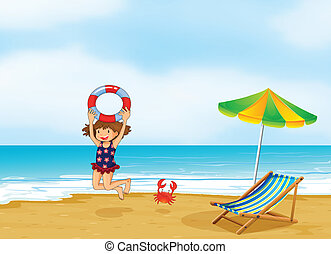A girl playing at the shore - Illustration of a girl playing...