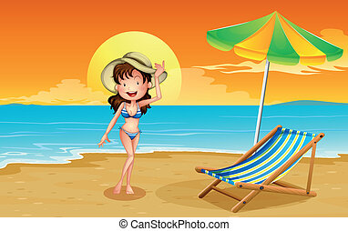 A beach with a girl - Illustration of a beach with a girl