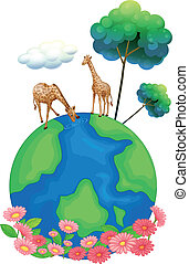 Two giraffes above the earth - Illustration of the two...