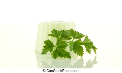 Fresh white cheese - White fresh cheese with fresh parsley...