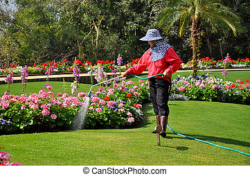 Gardener earn money for their work by working on other...