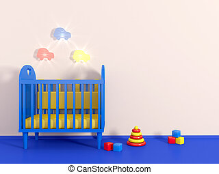 3d Boys room in blue color and toy