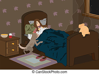 the sick sleeping girl - the dog and pig came to a bedroom...